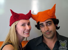Cathy and Sal in the Devil Hats
