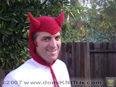 my brother in the snow devil hat