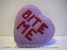 Knit up this naughty valentine pillow in just a couple of hours. Only $2 (USD)